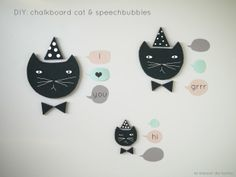 DIY free Template chalkboard cat & speech bubbles by La maison de Loulou {www.lamaisondeloulou.com/blog}