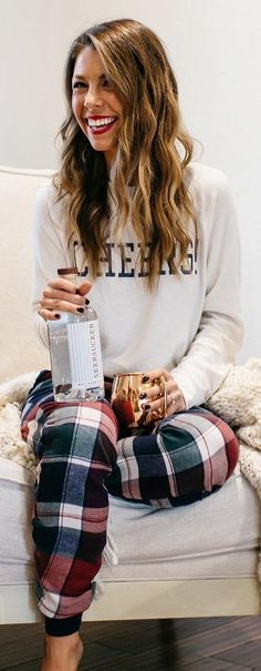 #winter #fashion / Printed Sweater / Plaid Pants Best outfit of the end of the day or all of the day on the out of the blue Sunday!