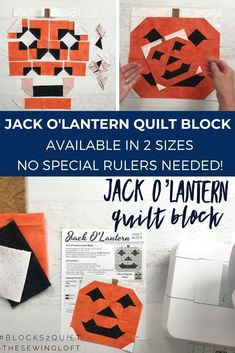 Add this fun, easy to make Jack O'Lantern quilt block to your next Halloween quilt. The block is made with patchwork construction, comes in 2 sizes, and needs no special tools. The Sewing Loft Halloween Sewing, Fall Sewing, Halloween Quilts, Halloween Crafts, Halloween Party, Quilt Block Patterns, Pattern Blocks, Quilt Blocks, Sewing Patterns