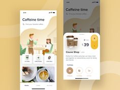 Coffee Delivery Apps card caffeine coffee app coffee mobile design ios minimal ui clean app illustration You are in the right place about iphone App Design Here we offer you the most beautiful picture Web Design, App Ui Design, Flat Design, Design Layouts, Interface Web, User Interface Design, Design Responsive, Responsive Web, R Cafe