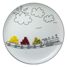 0 assiette dessin train - plate drawing of a train - Design Culinaire By Boguslaw Sliwinski Plate Design, Food Design, Ceramic Plates, Decorative Plates, Ceramic Pottery, Ceramic Art, Assiette Design, Casa Kids, Kids Plates