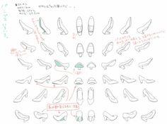 スニーカー・ブーツ・パンプスの描き方について解説しています。足の構造から学んで最後は実際に絵を描きながら解説をしています。
