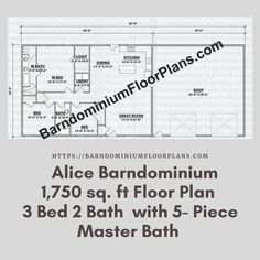 $595. Alice 3 Bed – 2 Bath – 1,750 sq. ft. with 5-Piece Master Bath. We sell semi-custom Barndominium floor plans and provide helpful tips to design and build your home whether it is DIY or you are paying a company. #architecture #barndominiums #home #modernbarn #barnhomefloorplans #beautifulbarn #homefloorplan #barnhomedesign #housedesign #barndominiumfloorplans #floorplan #dreambarn #barnhouse #barndominiumliving #interiordesign #barndominiumdesign #shop #exteriordesign Metal Barn Homes, Metal Building Homes, Pole Barn Homes, Building A House, Pole Barn House Plans, House Floor Plans, Barn House Design, Barndominium Floor Plans, Dream Barn
