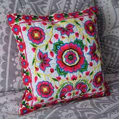 Pink and White Hmong Hill Tribe Cushion Cover