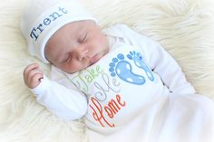 Take Me Home Baby is ready to go home and start a a grand adventure with Mommy and Daddy! A perfect outfit to bring your little one home in after waiting so long to do so. In the notes to seller at checkout please include the name you need on the hat for the hat option. One name only