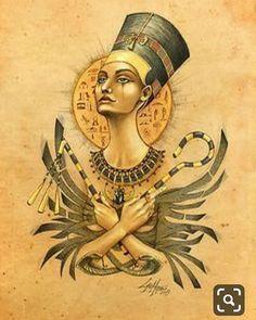 Ancient Memories Nefertiti - Art by Lorena Assisi: Egyptian Queen, Egyptian Goddess, Egyptian Art, Egyptian Jewelry, Isis Goddess, Character Illustration, Illustration Art, Character Sketches, Art Illustrations