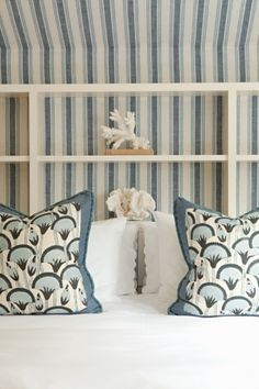 I love redo-ing the guest rooms. Don't you just love this blue & white with shells?.................