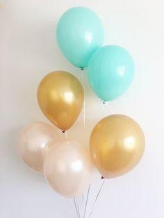 Peach Mint Gold Latex Balloons Peach Balloons Gold Balloons Peach and Gold First Birthday Peach Mint Gold Party Bridal Shower Decor Wedding