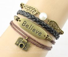Believe camera angel wings bracelet wax rope by themagicbracelet, $5.59
