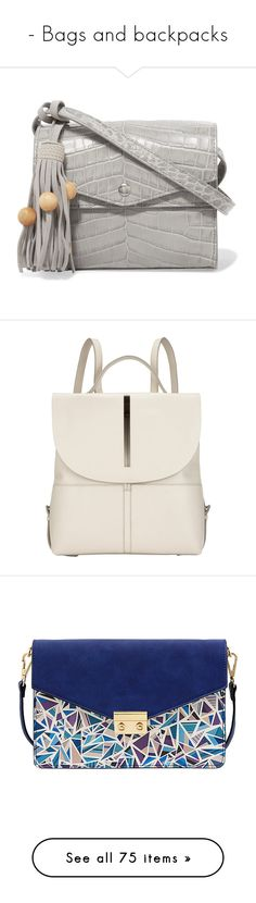 """""""- Bags and backpacks"""" by a-shaykhina ❤ liked on Polyvore featuring bags, handbags, shoulder bags, grey, grey purse, boho shoulder bag, genuine leather shoulder bag, gray purse, shoulder handbags and backpacks"""