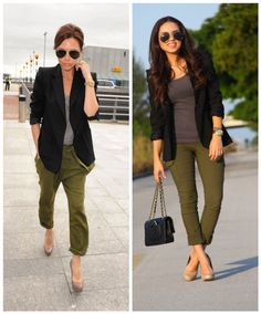 Beckham inspired look - Olive green pants, black blazer, gray tshirt Olive Green Pants Outfit, Olive Pants, Mode Outfits, Casual Outfits, Fashion Outfits, Womens Fashion, Outfits Pantalon Verde, Look Office, Professional Outfits