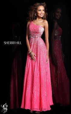 Strawberry One Shoulder Sequin Prom Gown by Sherri Hill 8506Outlet
