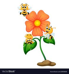 Three bees flying over some flowers Royalty Free Vector Cute Dog Drawing, Cute Drawings, Bee Rocks, Cartoon Bee, Decoupage Printables, Bee Cards, Valentines Design, Cute Bee, Easter Art