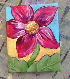 Items similar to My Heart Sings! Rich red flower painting with mustard & teal. Acrylic on canvas, miniature. Your indoor garden. Mini Canvas Art, Diy Canvas, Canvas Bags, Red Flowers, Colorful Flowers, Flower Colors, Easy Canvas Painting, Painting Art, Paintings
