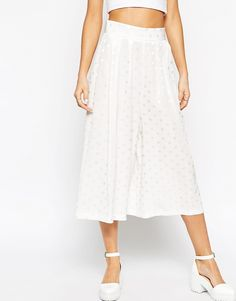 Image 4 ofASOS Wide Pleated Culottes in Spot Jacquard Co-ord