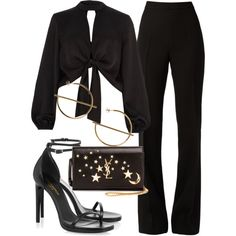 A fashion look from August 2017 featuring River Island tops, Giambattista Valli pants y Yves Saint Laurent sandals. Browse and shop related looks. Kpop Fashion Outfits, Edgy Outfits, Mode Outfits, Cute Casual Outfits, Look Fashion, Korean Fashion, Fashion Quiz, Classy Fashion, 2000s Fashion