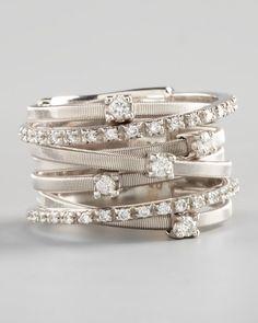 Marco Bicego Goa Seven Row White Gold Diamond Ring. Orsini Jewellery