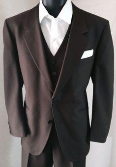 Martini Sz 40 Men's Brown 3PC Suit | Vest, Jacket & Pants (36X27)| EUC