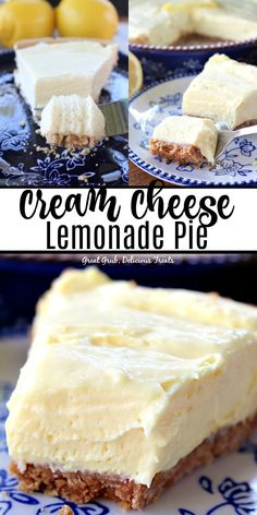 Cream Cheese Lemonade Pie is super lemony, tart and is a delicious lemony, no bake dessert. This is definitely a refreshing lemon pie perfect for the summer season. no bake desserts Cream Cheese Lemonade Pie Lemon Desserts, Köstliche Desserts, Lemon Recipes, Easy No Bake Desserts, Yummy Treats, Sweet Treats, Yummy Food, Cream Cheese Lemonade Pie, Frozen Lemonade Pie