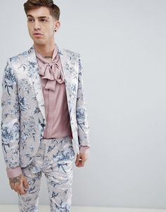 1e7758a7791 Twisted Tailor super skinny suit in pink metallic floral print Floral Suit  Men