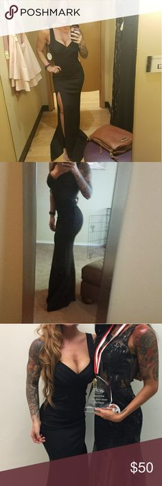 Black evening gown Amazing shape, brings out all your best curves.  Low cut v in front, slit on side. WINDSOR Dresses