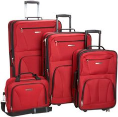 e1138e52f Rockland Luggage Skate Wheels 4 Piece Luggage Set, Red, One Size - http: