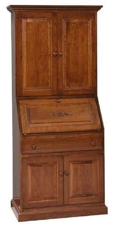 Amish Deluxe Secretary Desk with Hutch Top Secretary desks are beloved for their ability to cover up a busy workspace along with the way they blend into different rooms. This deluxe model is built in solid wood with plenty of additional storage space. #secretarydesk #desks