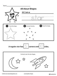 All About Star Shapes Worksheet.Learn all about the star shape in this math printable worksheet. Practice tracing, drawing, and coloring pictures of star shapes.