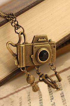 Copper Camera Pendant Necklace $11.99