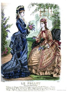 May 1876 Le Follet Edwardian Clothing, Edwardian Fashion, Vintage Fashion, 1870s Fashion, Victorian Women, Victorian Dresses, Jean Délavé, Fashion Illustration Vintage, 19th Century Fashion