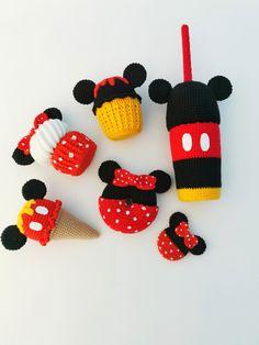 Mickey and Minnie Mouse head Set of crochet food Amigurumi cupcake ice cream toy Crochet donut Montessori baby toys Crochet toy candies bar #minniemousetoy #crochetdonut #setofcrochetfood #montessoribabytoys #crochetcandiesbar #crochetsweets #playkitchenfood #crochetplayfood #amigurumiicecream #crochetcupcakestoy #christmasgiftbox #kidschristmasgifts #educationtoys Minnie Mouse Toys, Mickey Mouse Cupcakes, Crochet Mickey Mouse, Play Kitchen Food, Lion Toys, Montessori Baby Toys, Crochet Food, Christmas Gifts For Kids, Baby Girl Gifts