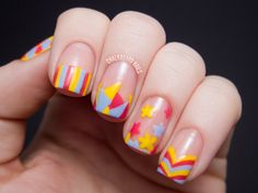 Chalkboard Nails: Sweet Spring Mix Over Nude