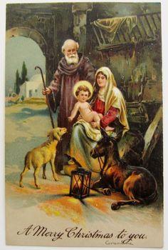 PFB Nativity Holy Family Lamb Merry CHRISTMAS Postcard EMB