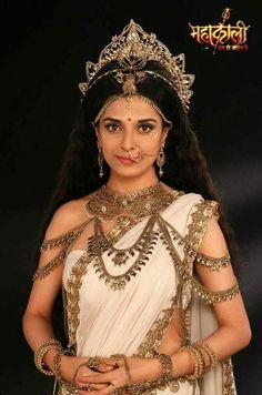 Pooja Sharma as Parvati Indian Goddess Kali, Durga Goddess, Goddess Art, Indian Bridal Lehenga, Pakistani Bridal, Saris, India Beauty, Asian Beauty, Carnival