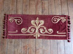 Antique French table runner hand embroidered velvet runner or window canopy pelmet valance w bobble trimming, RARE French table linens by MyFrenchAntiqueShop on Etsy https://www.etsy.com/listing/245625332/antique-french-table-runner-hand