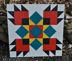 Bear Paw - 2 x 2 Barn Quilt Square painted on wood via Etsy ~ this would make a nice quilt block Barn Quilt Designs, Barn Quilt Patterns, Quilting Designs, Quilting Tutorials, Bear Paw Quilt, Barn Signs, Wood Signs, Painted Barn Quilts, Barn Art