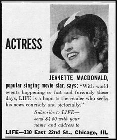 Jeanette MacDonald ad for Life Magazine