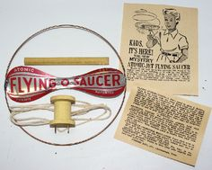 Vintage 1950's ATOMIC JET Tin FLYING SAUCER Helicopter Gyro Toy by Formis Manufacturing