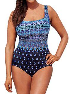 fe971711c85c Azue Einteil Badeanzug Oversize Bademode Bauchweg Sportlich Tankini Groß  Größe Schwimmanzug für Damen Blau L -