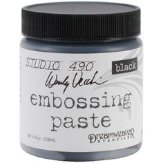 Embossing pastes can be used through stencils and with rubber stamps. They can be changed to any color before use by mixing w/paint, distress re-inkers, distress paint or spray inks. To add bling, mist the pastes with Perfect Pearls mist or mix  Perfect Pearls powder into your embossing paste before applying to your surface.  (modified text from Oyster Paper Crafts)  [Embossing Paste]