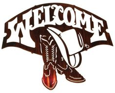 Cowboy Boots and Hat Welcome Sign Metal Wall Hanging