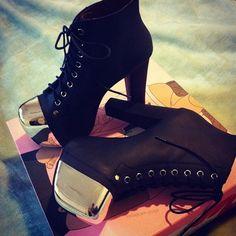 #black #silver #captoe #laces #boots #booties #heels #jeffreycampbell
