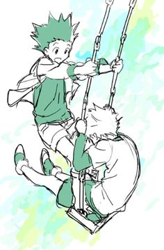 You know your best friends when you go in the swings like that. Gon and Killua are so cute!