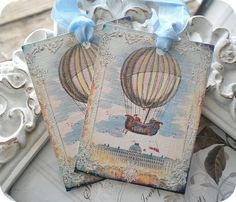 Vintage Shabby Chic Hot Air Balloon Tags - Set of 6 - Weddings, Showers, Bridal, Baby