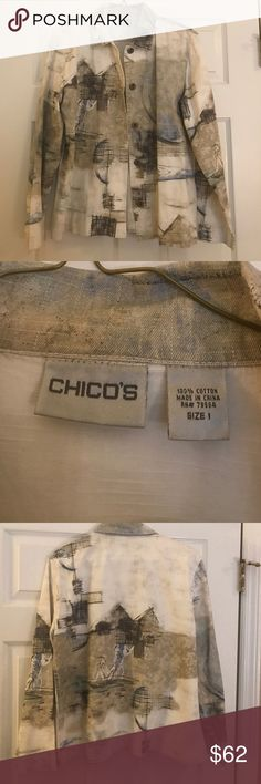 Vintage chicos denim  jacket Lightweight demin bought from chicos in Las Vegas for $130.00 size 1 Chico's Jackets & Coats Jean Jackets