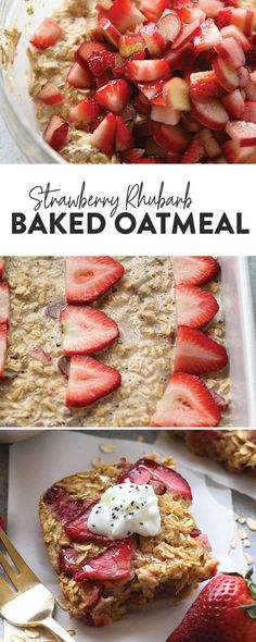 Make breakfast a breeze with this Strawberry Rhubarb Baked Oatmeal. This strawberry rhubarb recipe is the perfect healthy breakfast that's packed with fiber protein and will satisfy your sweet tooth while keeping you full until lunchtime! Healthy Rhubarb Recipes, Strawberry Rhubarb Recipes, Vegetarian Breakfast Recipes, Brunch Recipes, Gourmet Recipes, Strawberry Trifle, Breakfast Healthy, Protein Recipes, Free Recipes