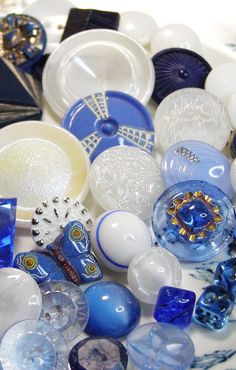 Vintage Blue and White Glass Buttons