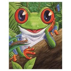 DIY Diamond Painting Cartoon Frog with Caterpillar - craft kit, Funny Frogs, Cute Frogs, Graffiti Kunst, Caterpillar Craft, Cartoon Smile, Frog Drawing, Frog Tattoos, Frog Pictures, Motifs Animal