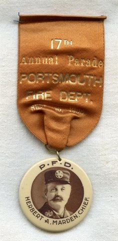 1903 Portsmouth, New Hampshire Fire Department 17th Annual Parade Ribbon