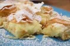 Bougatsa Recipe - Greek cream custard pie with phyllo Greek Sweets, Greek Desserts, Greek Recipes, Just Desserts, Phylo Pastry Recipes, Bougatsa Recipe, Greek Pastries, Desserts With Biscuits, Sweets Recipes